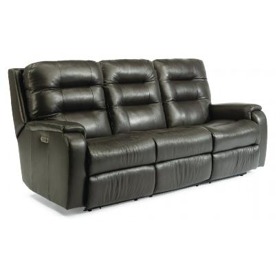 Flexsteel Power Reclining Sofa with Power Headrests and Lumbar