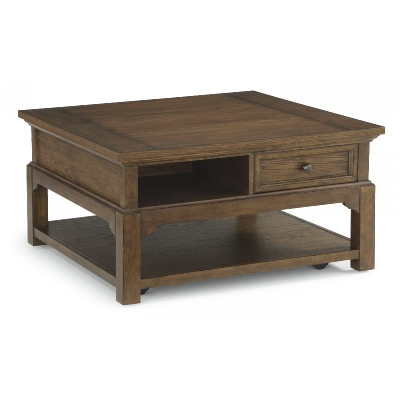 Flexsteel Square Coffee Table with Casters