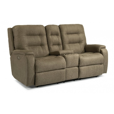 Flexsteel Power Reclining Loveseat with Console and Power Headrests and Lumbar