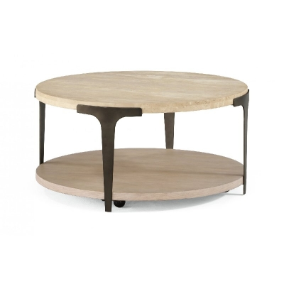 Flexsteel Round Coffee Table with Casters