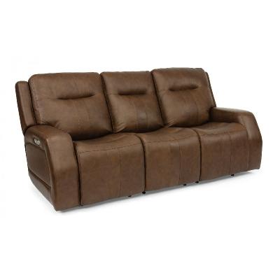 Flexsteel Triple Power Reclining Sofa with Power Headrests