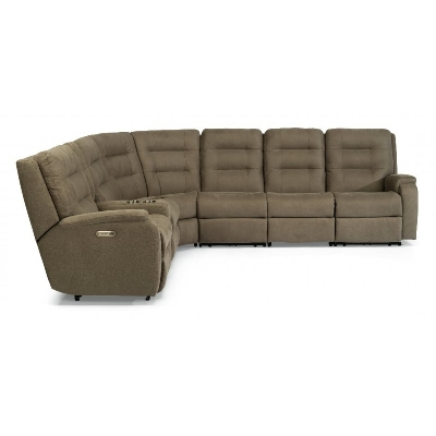 Flexsteel Power Reclining Sectional with Power Headrests and Lumbar