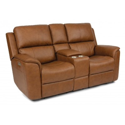 Flexsteel Power Reclining Loveseat with Console and PHR and PLMBR