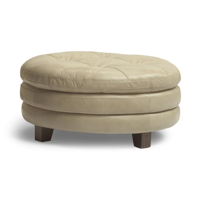 Flexsteel Leather Round Cocktail Ottoman