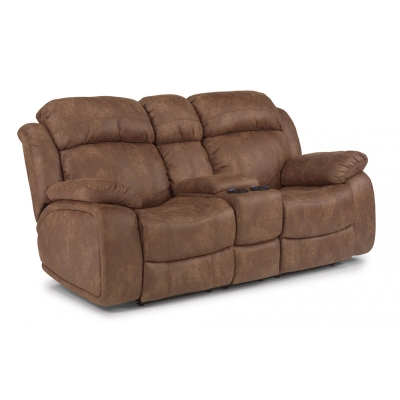 Flexsteel NuvoLeather Gliding Reclining Loveseat with Console