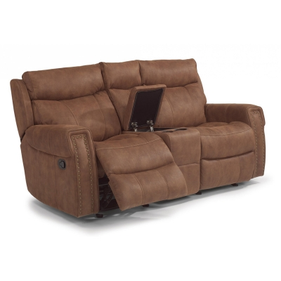 Flexsteel Fabric Gliding Reclining Loveseat with Console