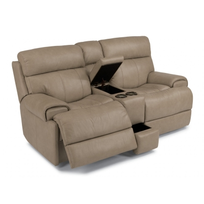 Flexsteel Leather Power Reclining Loveseat with Console