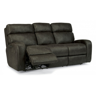 Flexsteel Fabric Power Reclining Sofa with Power Headrests