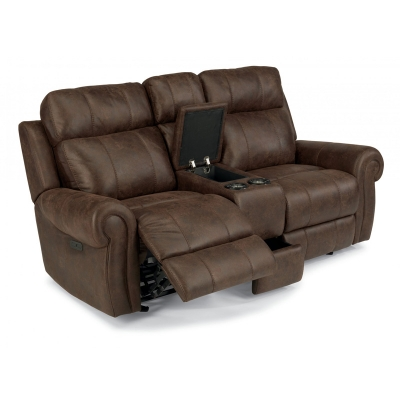 Flexsteel Fabric Power Gliding Reclining Loveseat with Console and Power Headrests