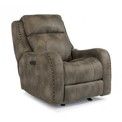 Flexsteel Fabric Power Gliding Recliner with Power Headrest