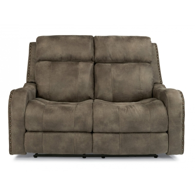 Flexsteel Fabric Power Reclining Loveseat with Power Headrests