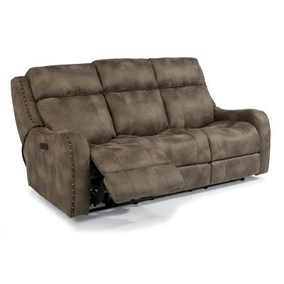 Flexsteel Fabric Power Reclining Sofa with Power Headrests