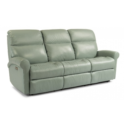 Flexsteel Leather Power Reclining Sofa with Power Headrests