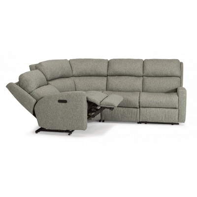 Flexsteel Fabric Power Reclining Sectional with Power Headrests