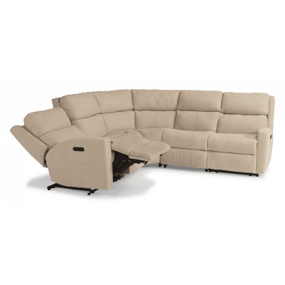 Flexsteel Leather Power Reclining Sectional with Power Headrests