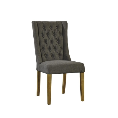 Furniture Classics Tufted Gray Linen Side Chair