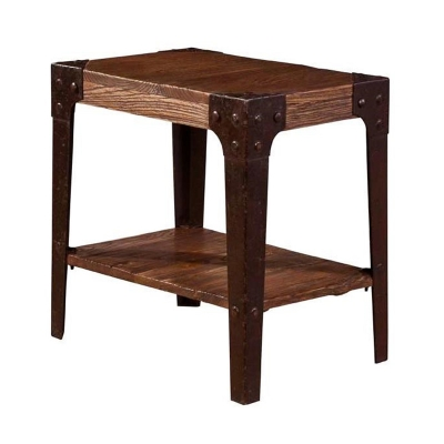 Furniture Classics Iron and Old Elm Chairside Table