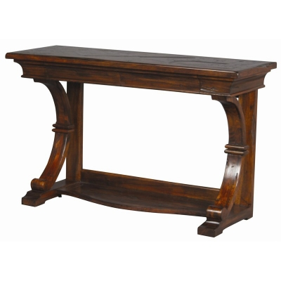 Furniture Classics Neoclassic Console Table with Diamond and Plank Top