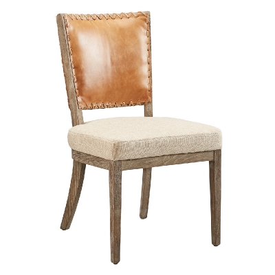Furniture Classics Leather and Linen Chair