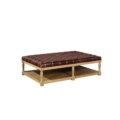 Furniture Classics Tufted Leather Top Coffee Table
