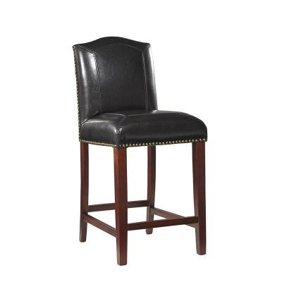 Furniture Classics Black Blake Leather Counter Stool