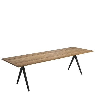 Gloster Split Dining Table Buffed Teak with Contour Edge