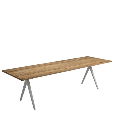 Gloster Split Dining Table Natural Teak with Contour Edge
