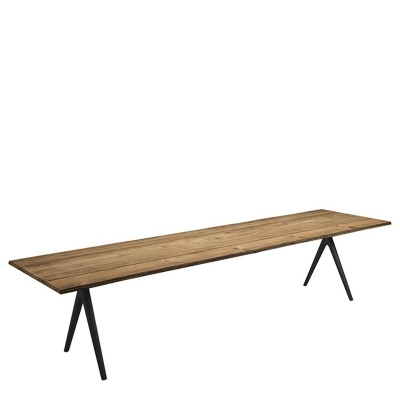 Gloster Split Dining Table Natural Teak with Sapwood Edge