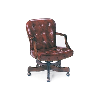 Hancock and Moore Buttoned Swivel-Tilt Chair