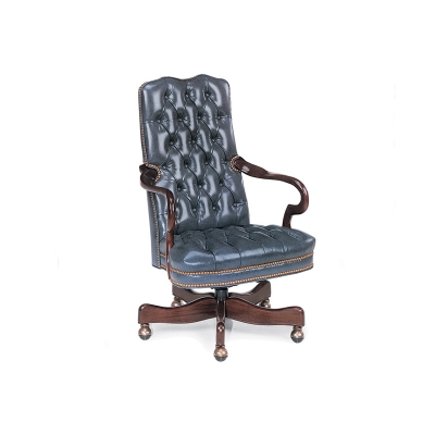 Hancock and Moore Tufted Gooseneck Swivel-Tilt Chair