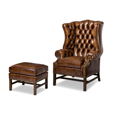 Hancock and Moore Chair and Ottoman