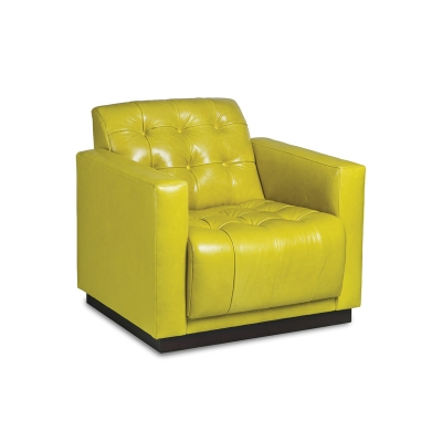 Hancock and Moore Leather Tufted Swivel Chair
