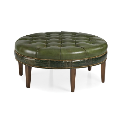 Hancock and Moore Leather Tufted Ottoman