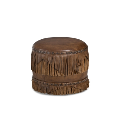 Hancock and Moore Leather Fringed Ottoman