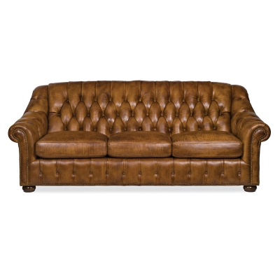 Hancock and Moore Leather Tufted Sofa