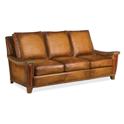 Hancock and Moore Leather Sofa with Viking Arms