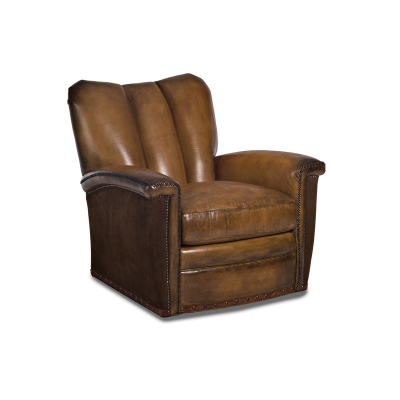 Hancock and Moore Leather Channeled Swivel Chair