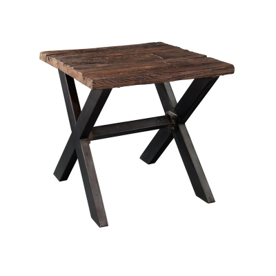 Hekman Railroad Tie and Steel Lamp Table