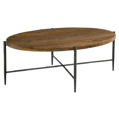 Hekman Metal and Wood Oval Coffee Table