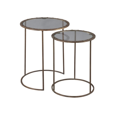 Hekman Copper Rivet Nest of Tables