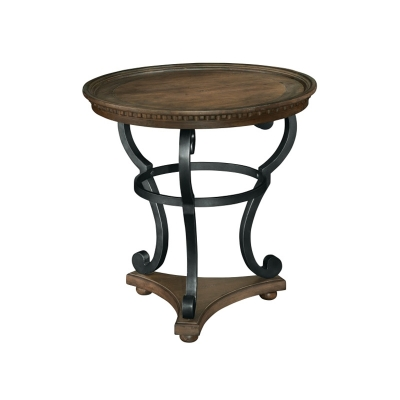 Hekman Round Antique Brass Scroll Base End Table