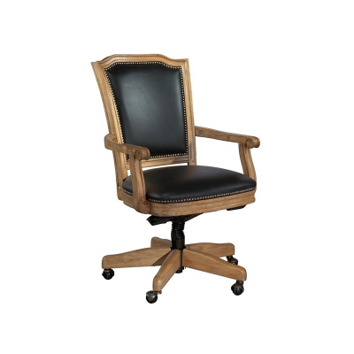 Hekman Wood Frame Black Leather Office Chair