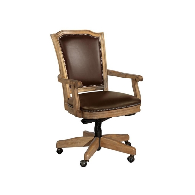 Hekman Wood Frame Chocolate Leather Office Chair