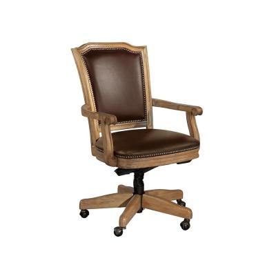 Hekman Wood Frame Chocolate Leather Office Chair