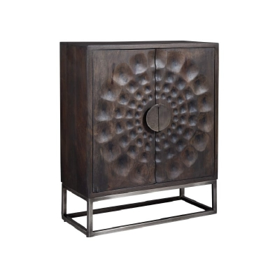 Hekman Circle Carved Door Cabinet