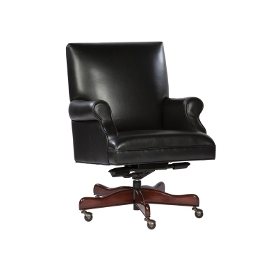 Hekman Black Leather Executive Chair