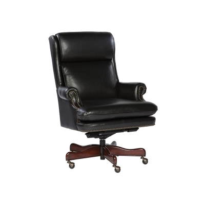 Hekman Black Leather Executive Chair