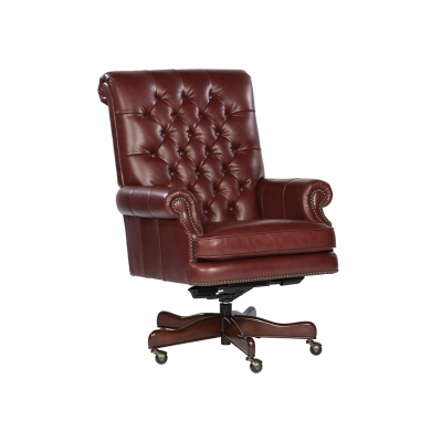 Hekman Merlot Leather Executive Chair