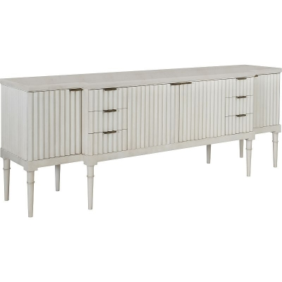 Hickory Chair Plaited Buffet Base and Marble Top