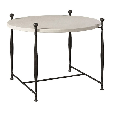 Hickory Chair Ionia Side Table with Round Stone Top